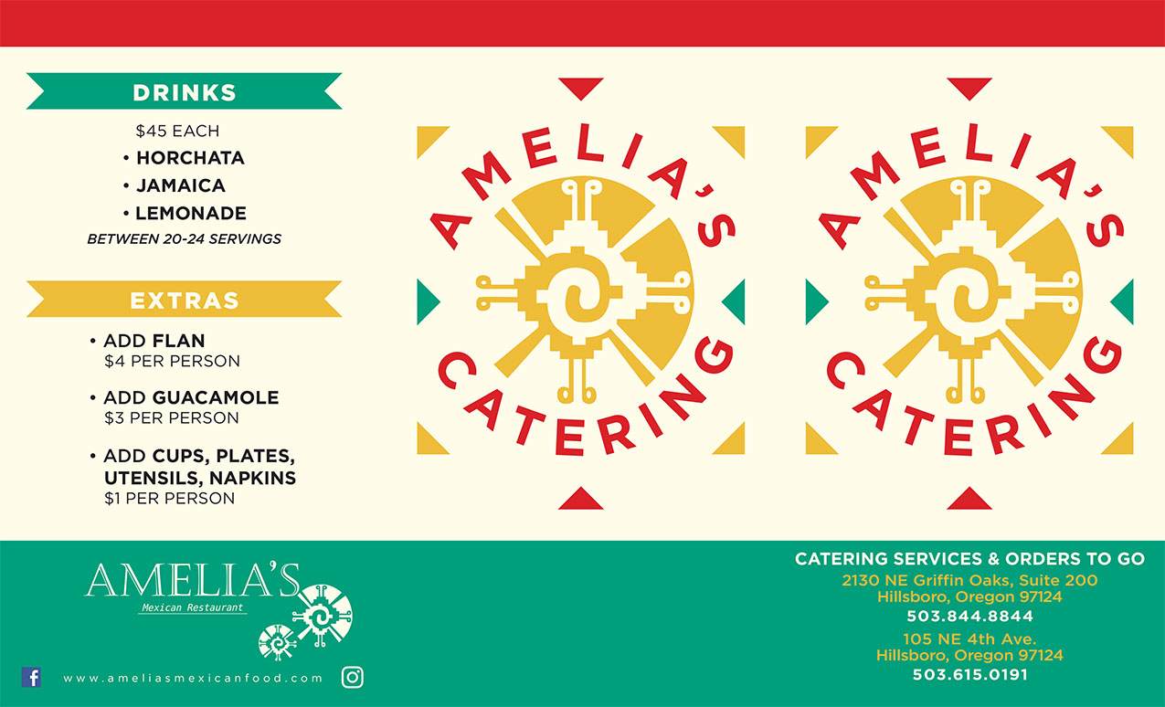 Image of amelia's catering menu page 1