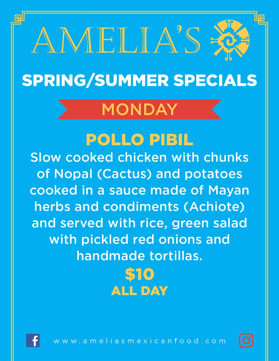 image of Amelia's Spring & Summer specials for Monday