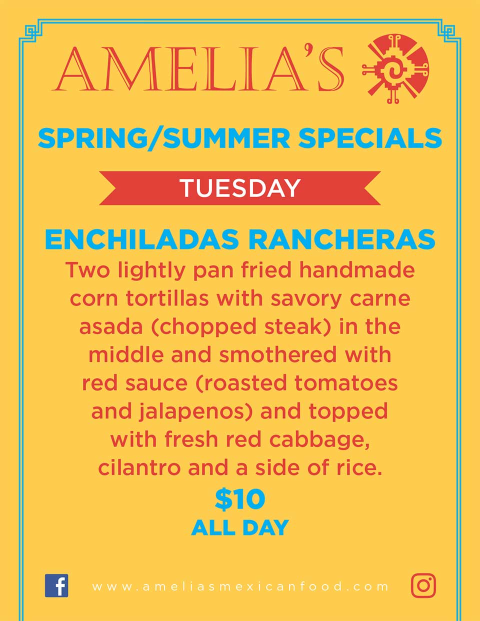 image of Amelia's spring & summer specials for tuesday