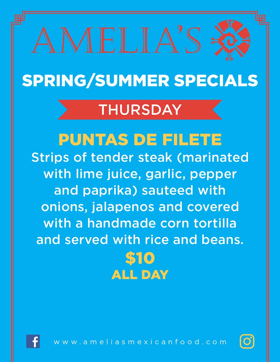 image of Amelia's spring & summer specials for Thursday