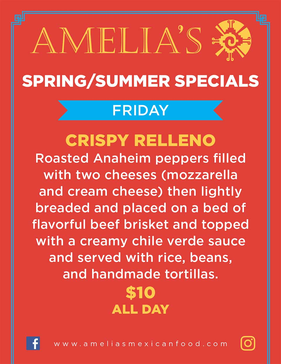 image of Amelia's Spring & summer specials for Friday